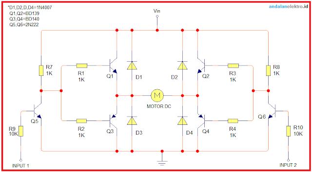 Skema rangkaian H-Bridge jembatan Transistor