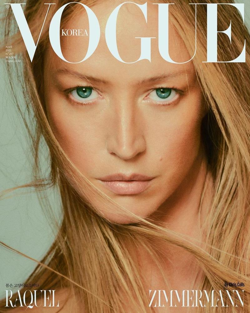 Raquel Zimmermann poses for Vogue Korea April 2021