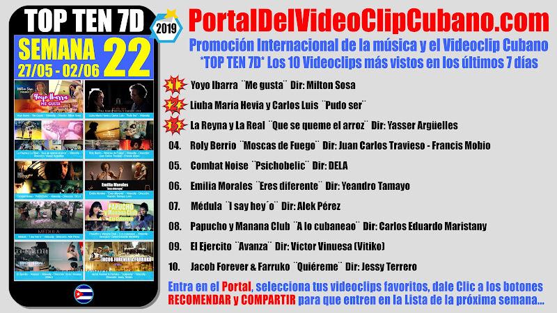 Artistas ganadores del * TOP TEN 7D * con los 10 Videoclips más vistos en la semana 22 (27/05 a 02/06 de 2019) en el Portal Del Vídeo Clip Cubano