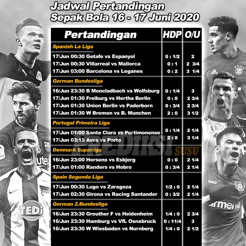 Jadwal Pertandingan Sepak Bola 16 - 17 Juni 2020 ...