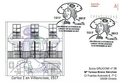 Tarjeta con matasellos del 500 aniversario de la estancia de Carlos I en Villaviciosa