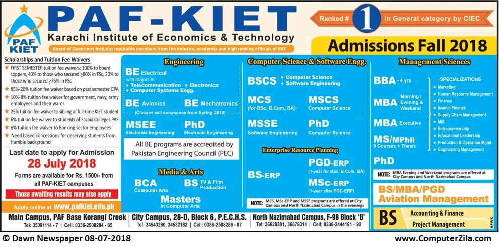 Pakistan Air Force Karachi Institute of Economics and Technology (PAF-KIET) Admissions Fall 2018
