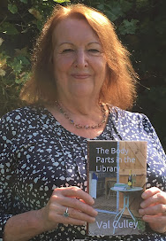 Val Cully with her latest novel, The Body Parts in the Library