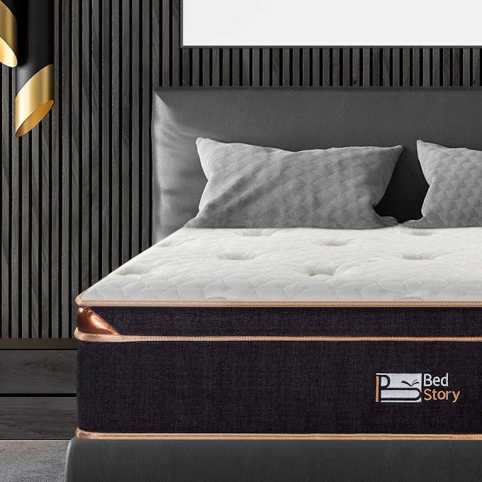 45%off BedStory12 inch hybrid mattress (Black and White)