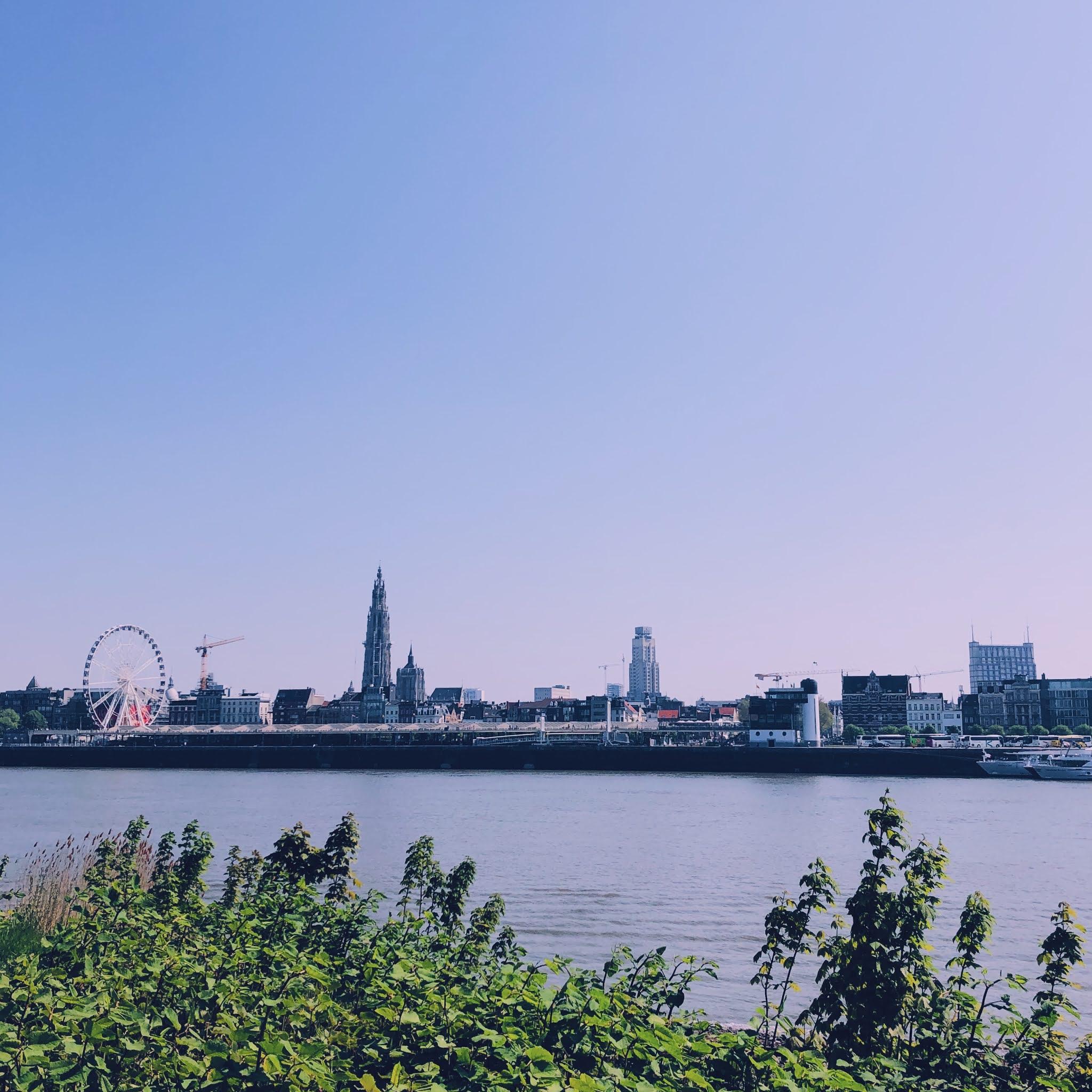 Skyline van Antwerpen getrokken vanop Linkeroever
