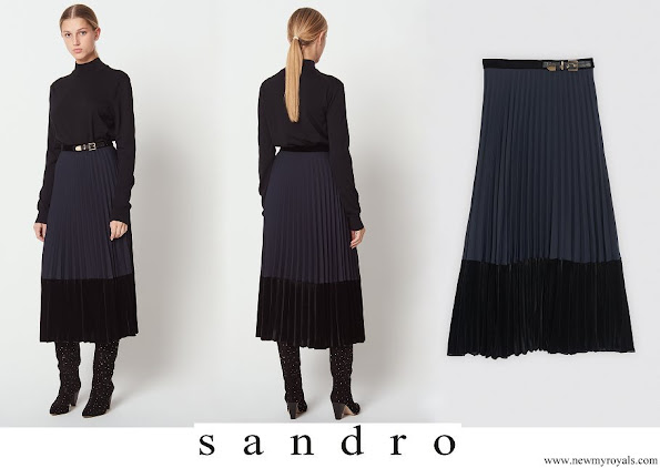 Princess Sofia wore Sandro Long pleated dual material skirt