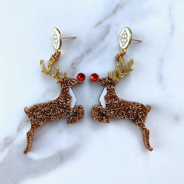 Fashion, Holiday, Accessories, earrings, rudolph, bling, shiny, bright, colorful, athomewithjemma