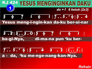 Lirik dan Not Kidung Jemaat 424 Yesus Menginginkan Daku
