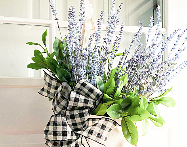 lavender and greens with a buffalo check bow