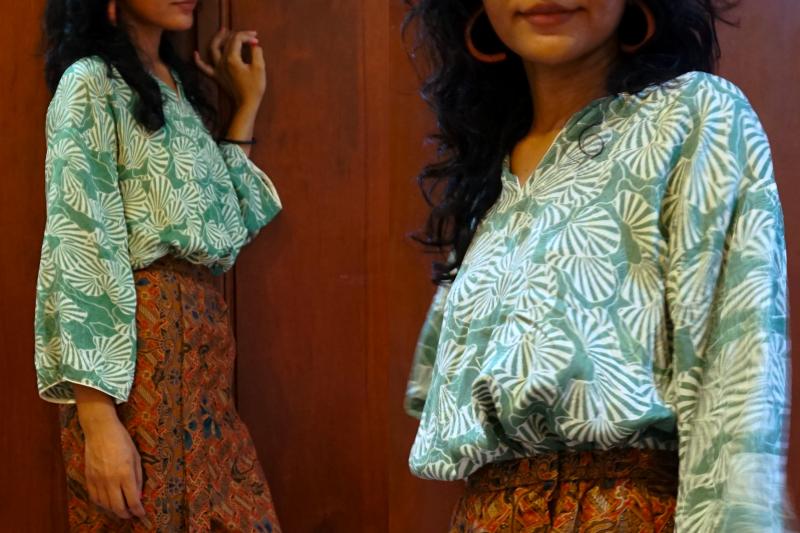 Batik skirt and silk blouse combo - How I style it