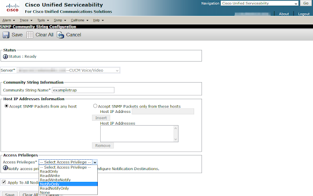 A screenshot of a community string being added through the Cisco Unified Serviceability graphical interface. The Access Privileges dropdown is expanded to show the six options: ReadOnly, ReadWrite, ReadWriteNotify, NotifyOnly, ReadNotifyOnly, or None.