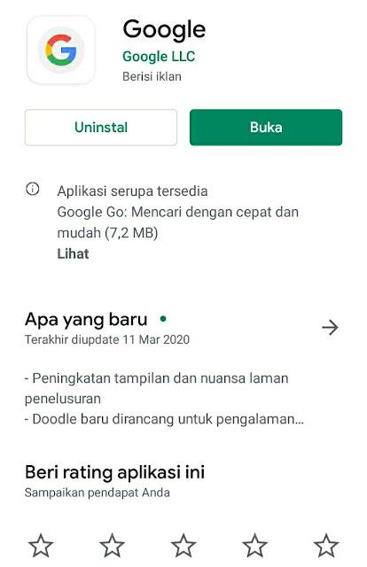 Update Google Sukses