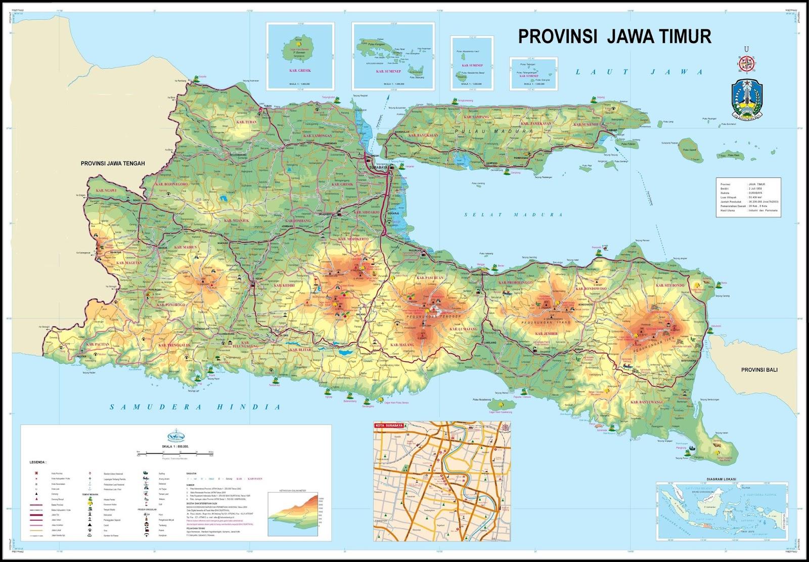 Peta Jawa Timur Lengkap Daftar 29 Nama Kabupaten 9 Kota