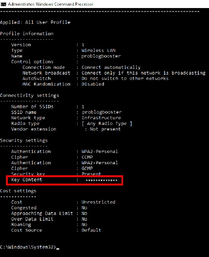 Wifi details command prompt