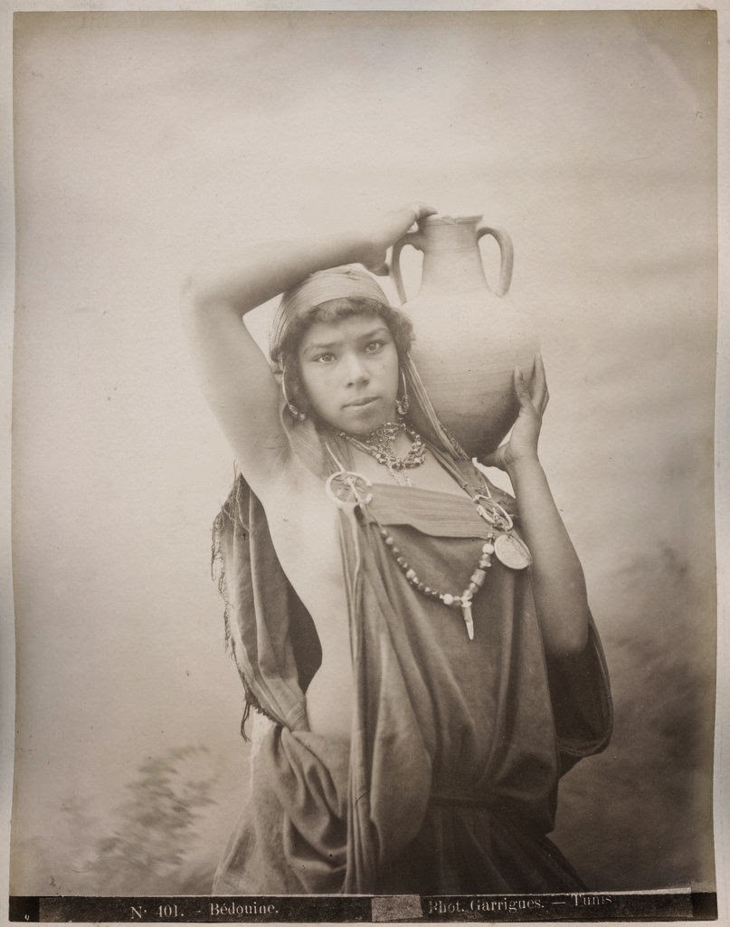 Beautiful Bedouin Woman with Water Pot - Tunisia, North Africa c1880's