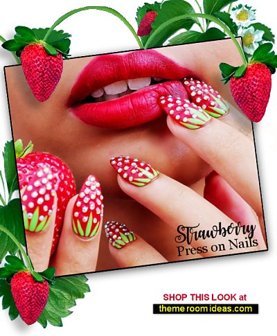 Strawberry Press On Nails, Summer Nails fruit nail designs strawberries nail art strawberry