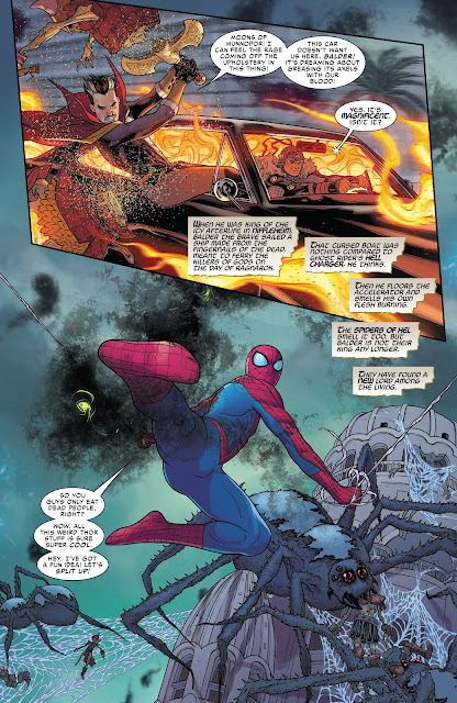 Doctor Strange and Balder the brave on Hell Charger, Spiderman leading Giant spiders of Hel