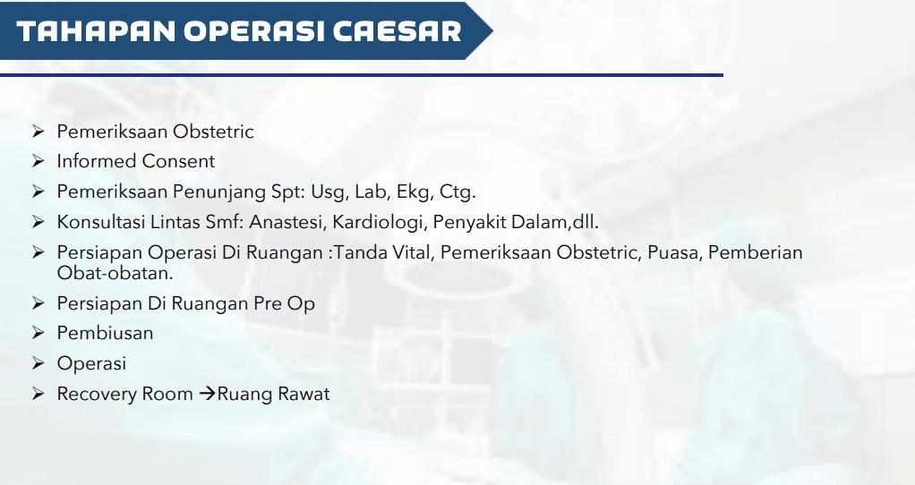tahapan operasi caesar / sectio caesaria / Sc