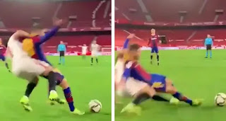 Barcelona twitter account aim dig at match officials in Sevilla after penalty denier