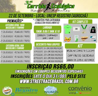 3ª CORRIDA ECOLÓGICA RAYEL ANTUNES EM REGISTRO-SP
