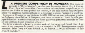 Article Presse Première Compétition de Monoski en France
