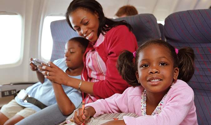 Mother with children on airplane