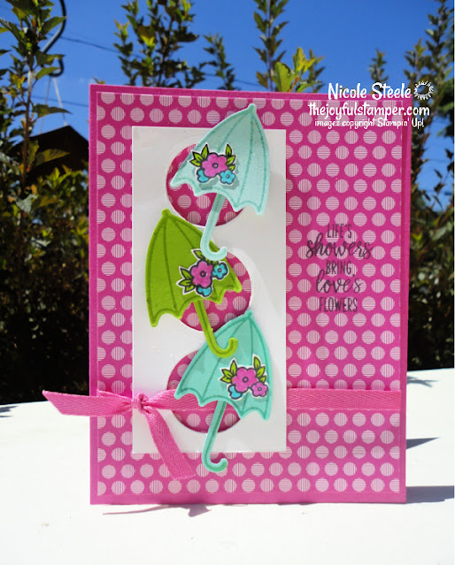 peek a boo card, under my umbrella, stampin' up!, in colors, wink of stella, handmade card, stamping, papercrafting, learn to stamp, how to make a card