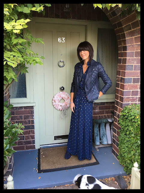 My Midlife Fashion, Marks and Spencer faux leather quilted biker jacket, h and m ruffle maxi dress, boden boho boots