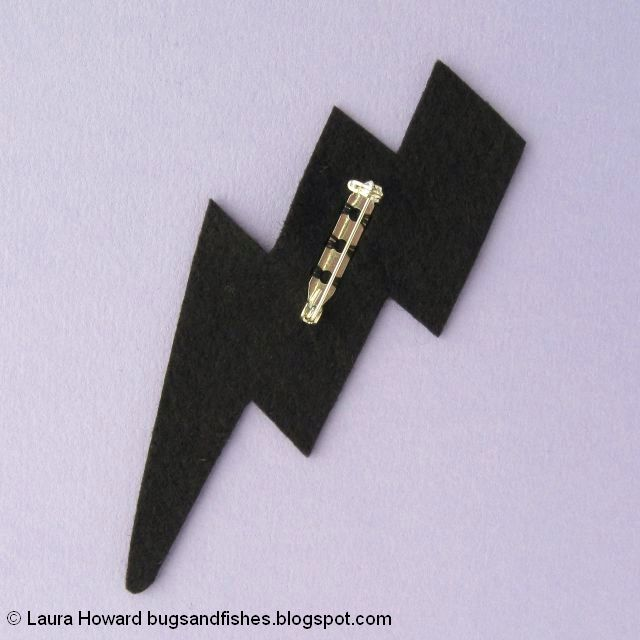 vegan leather lightning bolt brooch tutorial: add the brooch clasp