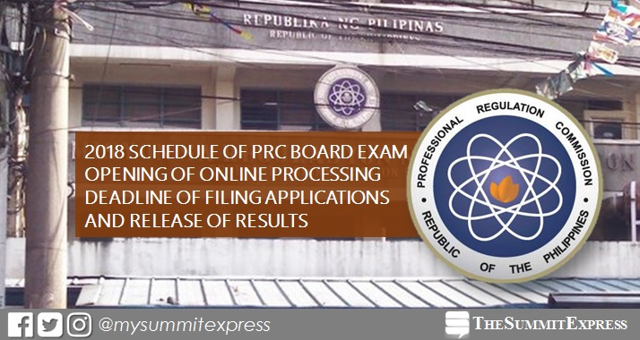 FULL LIST: PRC board exam schedule 2018, deadline of filing
