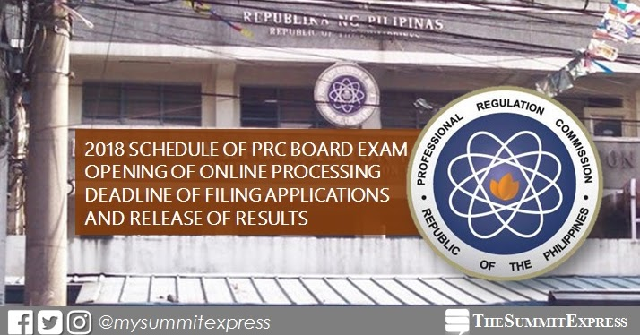 full list  prc board exam schedule 2018  online application  deadline of filing