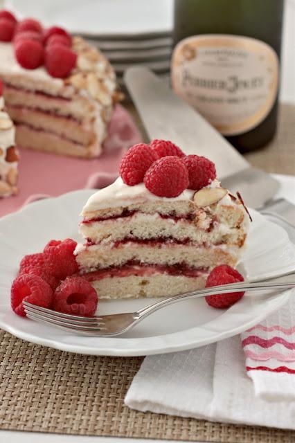 almond white cake with raspberry