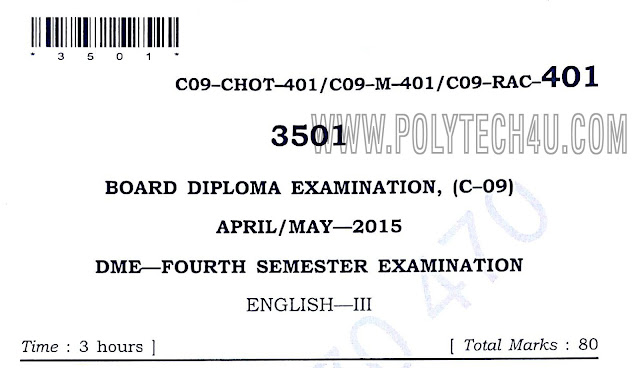 c-09 dme 401 English-3 old question papers April/may-2015