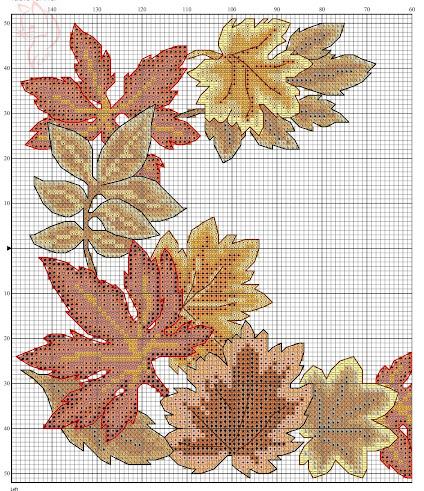 Runner a punto croce con foglie autunnali
