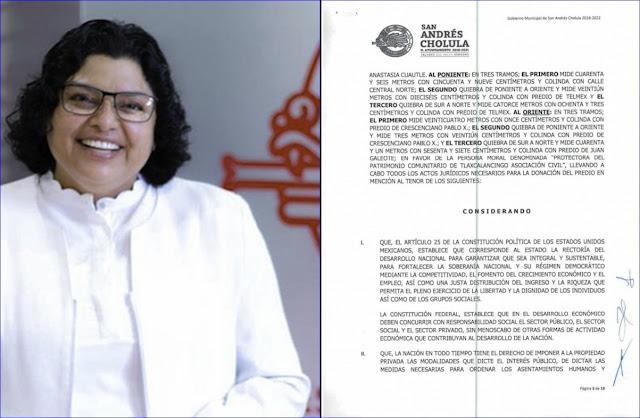 Karina Pérez Popoca logra donación de un predio a asociación ligada a esposo