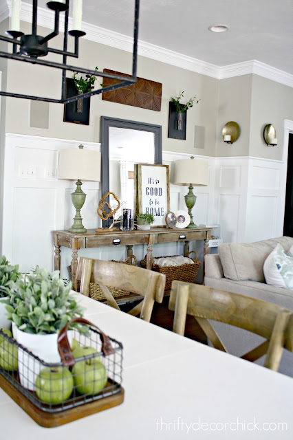 Light wood hall table with open shelves