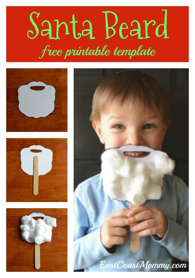 East Coast Mommy Santa Beard Preschooler Craft