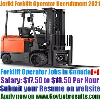 Joriki Forklift Operator Recruitment 2021-22