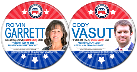 Ro'vin Garrett and Cody Vasut are the Rep Runoff Candidates for HD-25 in Brazoria County