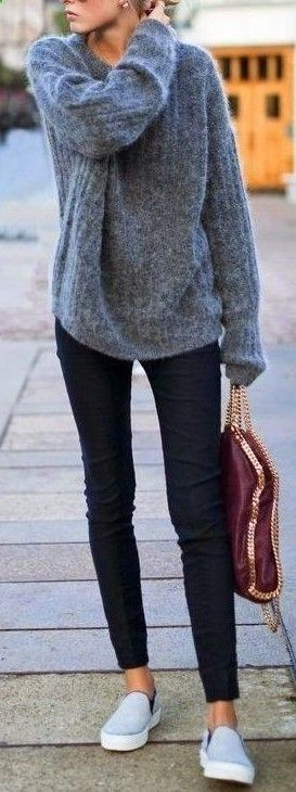 outfit of the day / grey sweater + bag + skinnies + sneakers