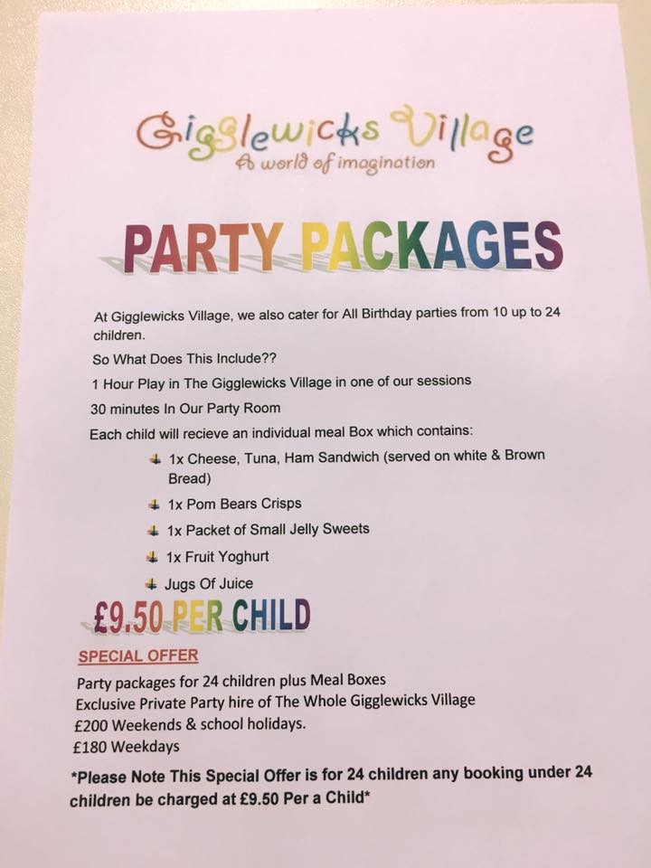 Gigglewicks Village Cramlington - party package