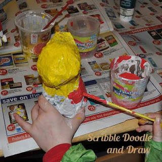 kids crafts paper mache love birds paint love birds