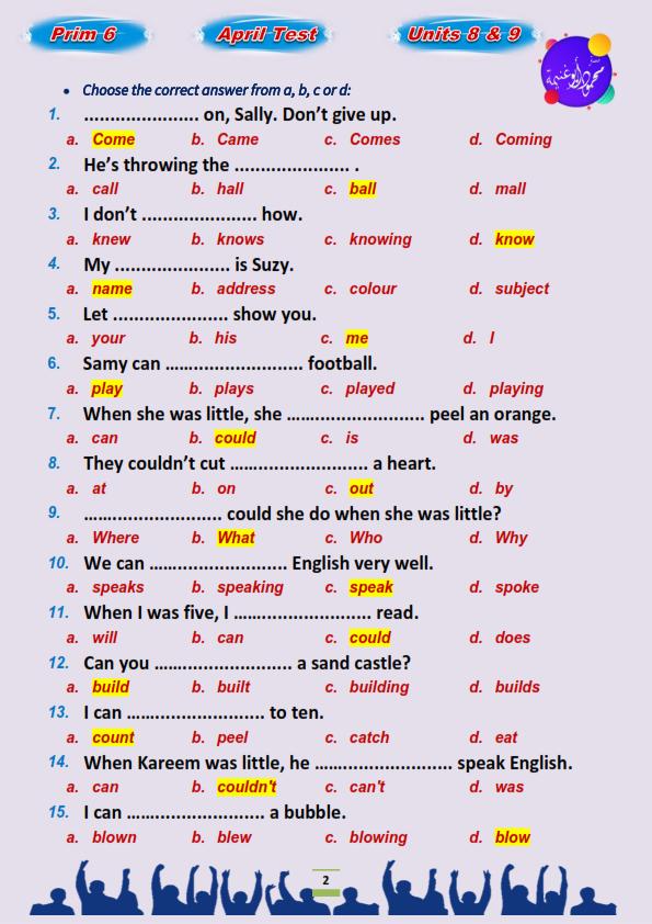 مراجعة اللغة الإنجليزية للصف السادس الابتدائي ترم ثاني.. إختيار من متعدد بالاجابات مستر محمود أبو غنيمة 6%2B%25282%2529