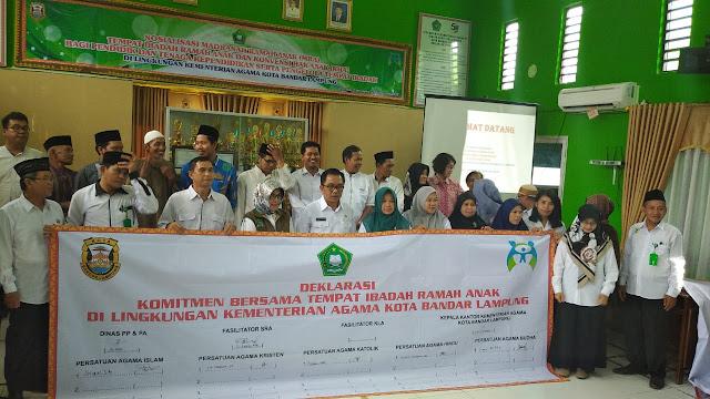 Kemenag Kota Bandar Lampung Mengadakan Acara Sosialisasi Madrasah Ramah Anak( MRA)