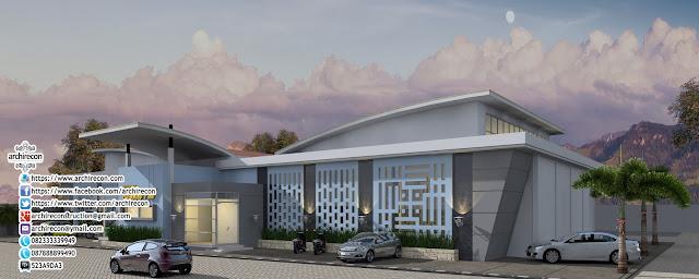 Desain Gedung Kolam Renang - Tampak Samping