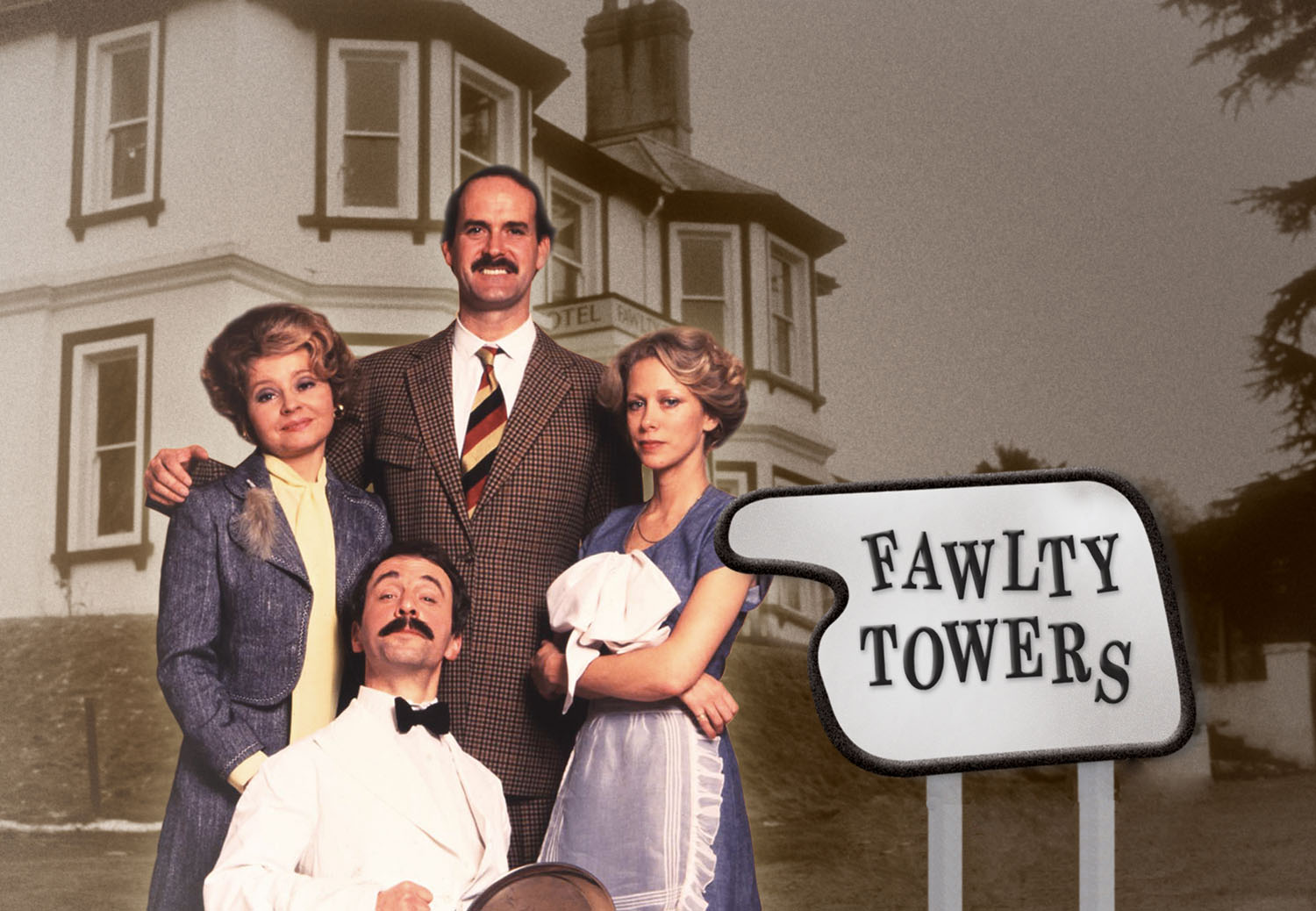 Fawlty Towers Image with the Four Main Characters