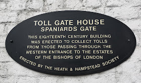 Plaque on side of Spaniards Gate toll house,  Hampstead © R Knowles (2019)