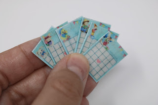 Doll-sized bingo cards made by Tanna Beth