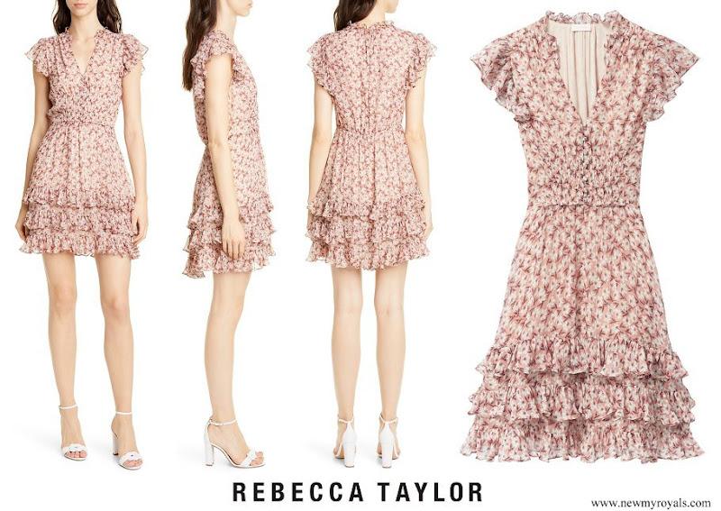 Princess Madeleine wore Rebecca Taylor Lucia Metallic Silk Blend Chiffon Mini Dress