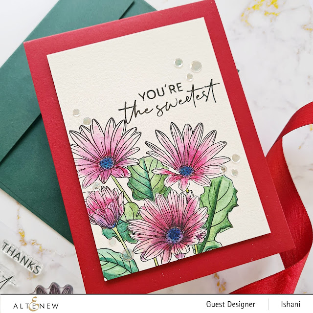 Altenew Paint a flower - African Daisy, Daisy card, CAS floral card, watercolored daisies, Guest designer Ishani, Altenew floral stamps, Quillish